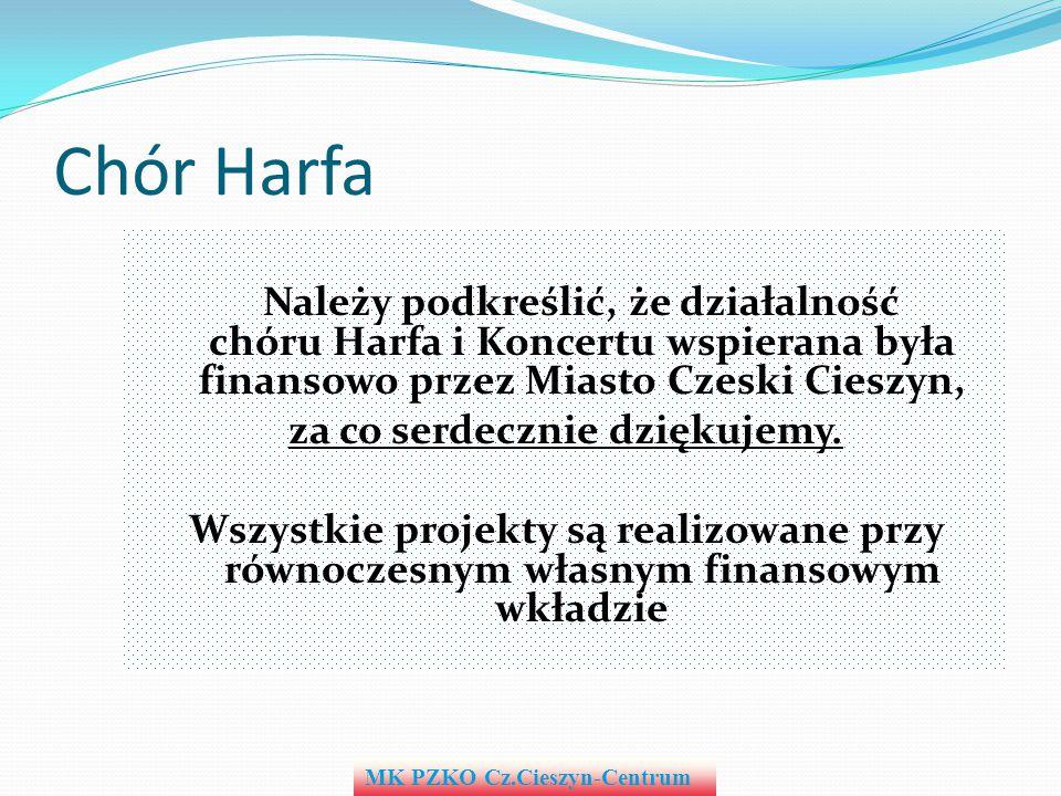 Chór Harfa Należy podkreślić, że działalność chóru Harfa i Koncertu wspierana była finansowo przez Miasto Czeski Cieszyn, za co serdecznie dziękujemy.