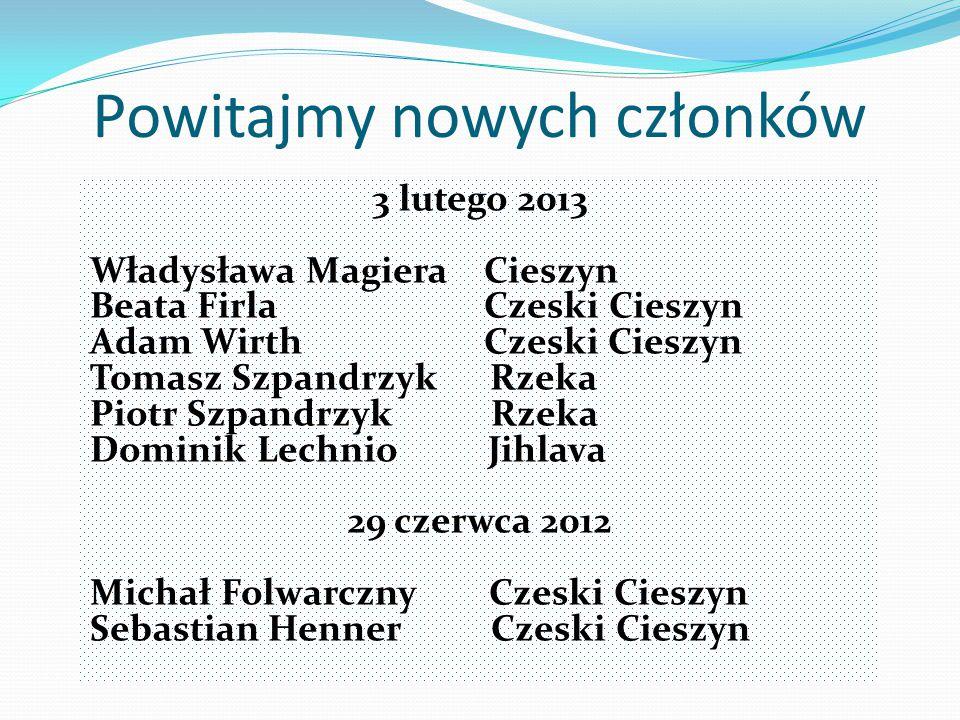Powitajmy nowych członków 3 lutego 2013 Władysława Magiera Cieszyn Beata Firla Czeski Cieszyn Adam Wirth Czeski Cieszyn Tomasz Szpandrzyk Rzeka Piotr