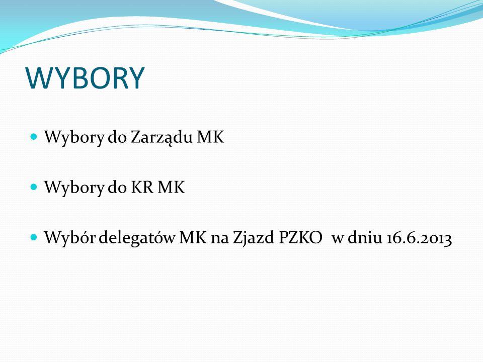 WYBORY Wybory do Zarządu MK Wybory do KR MK Wybór delegatów MK na Zjazd PZKO w dniu 16.6.2013