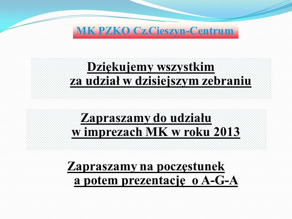 MK PZKO Cz.Cieszyn-Centrum Dziękujemy wszystkim za udział w dzisiejszym zebraniu Zapraszamy do udziału w imprezach MK w roku 2013 Zapraszamy na poczęs