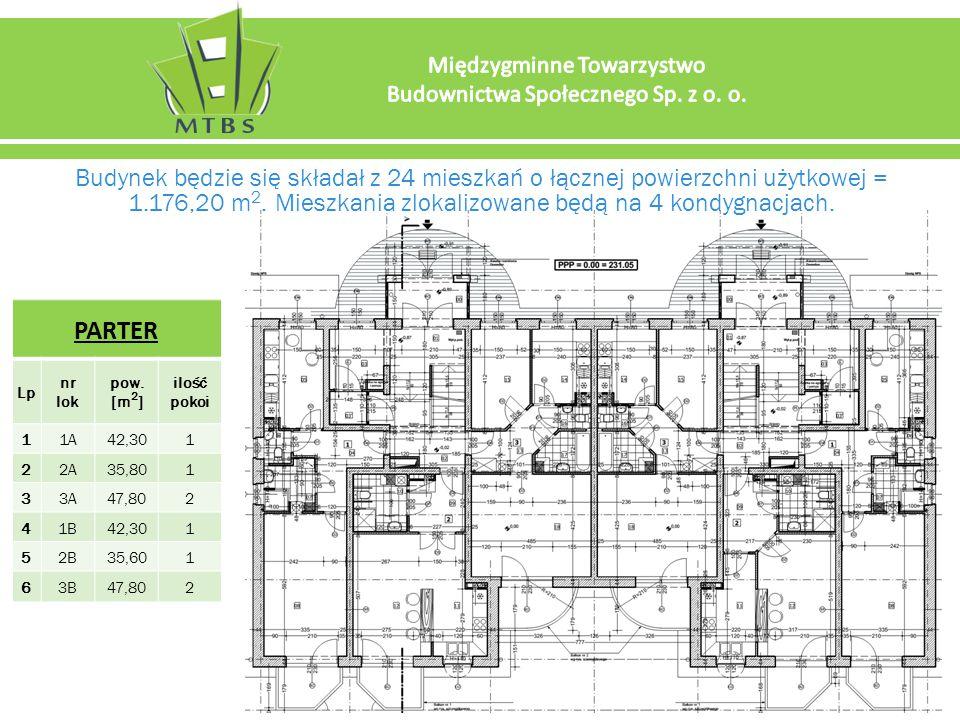Budynek będzie się składał z 24 mieszkań o łącznej powierzchni użytkowej = 1.176,20 m 2.