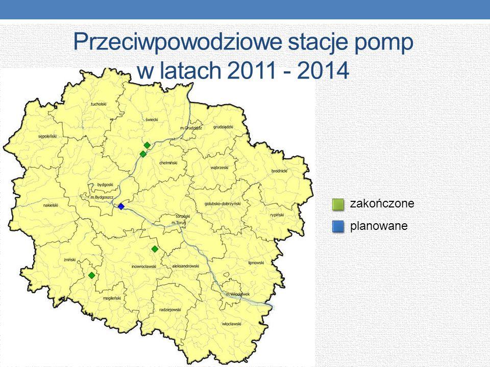 Przeciwpowodziowe stacje pomp w latach 2011 - 2014 zakończone planowane