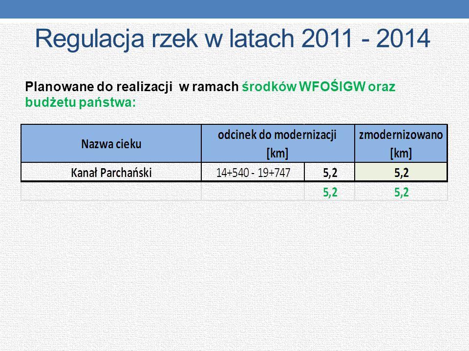 Regulacja rzek w latach 2011 - 2014 Planowane do realizacji w ramach środków WFOŚIGW oraz budżetu państwa: