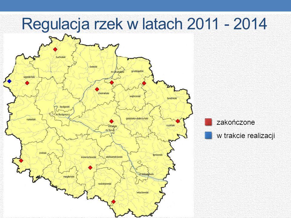 Regulacja rzek w latach 2011 - 2014 zakończone w trakcie realizacji