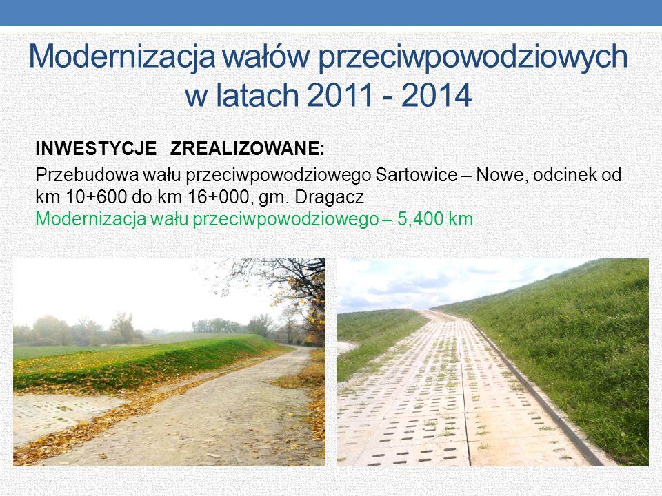 Modernizacja wałów przeciwpowodziowych w latach 2011 - 2014 INWESTYCJE ZREALIZOWANE: Przebudowa wału przeciwpowodziowego Sartowice – Nowe, odcinek od