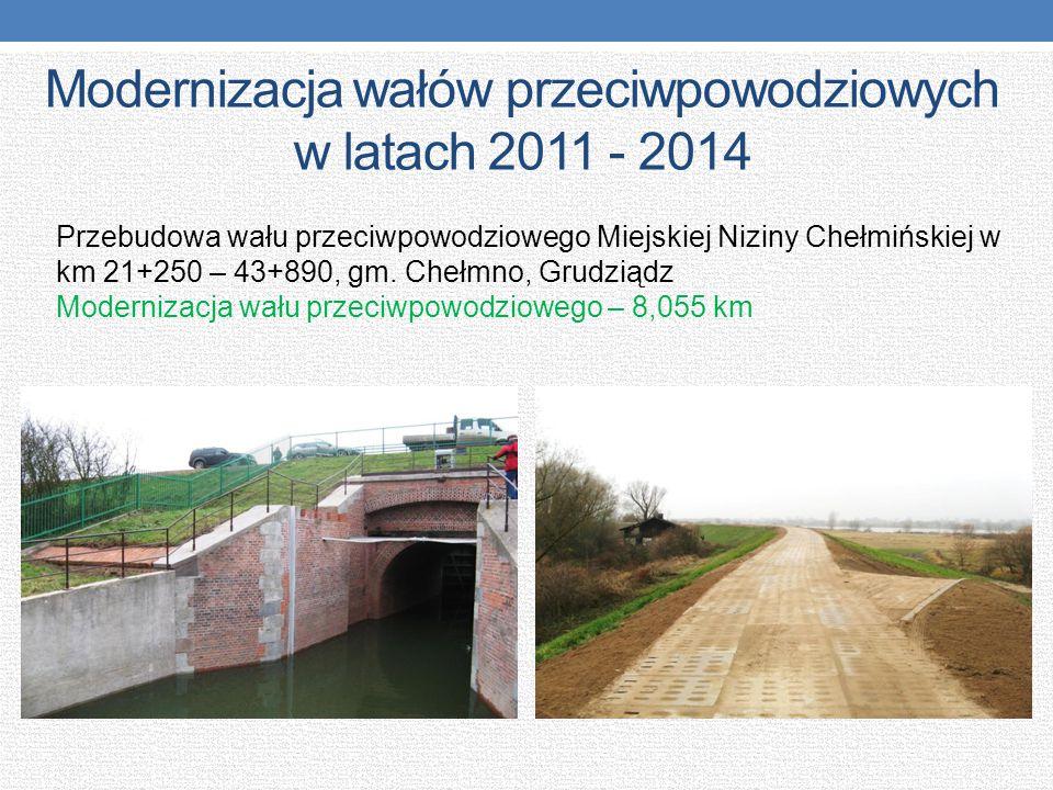 Modernizacja wałów przeciwpowodziowych w latach 2011 - 2014 Przebudowa wału przeciwpowodziowego Miejskiej Niziny Chełmińskiej w km 21+250 – 43+890, gm