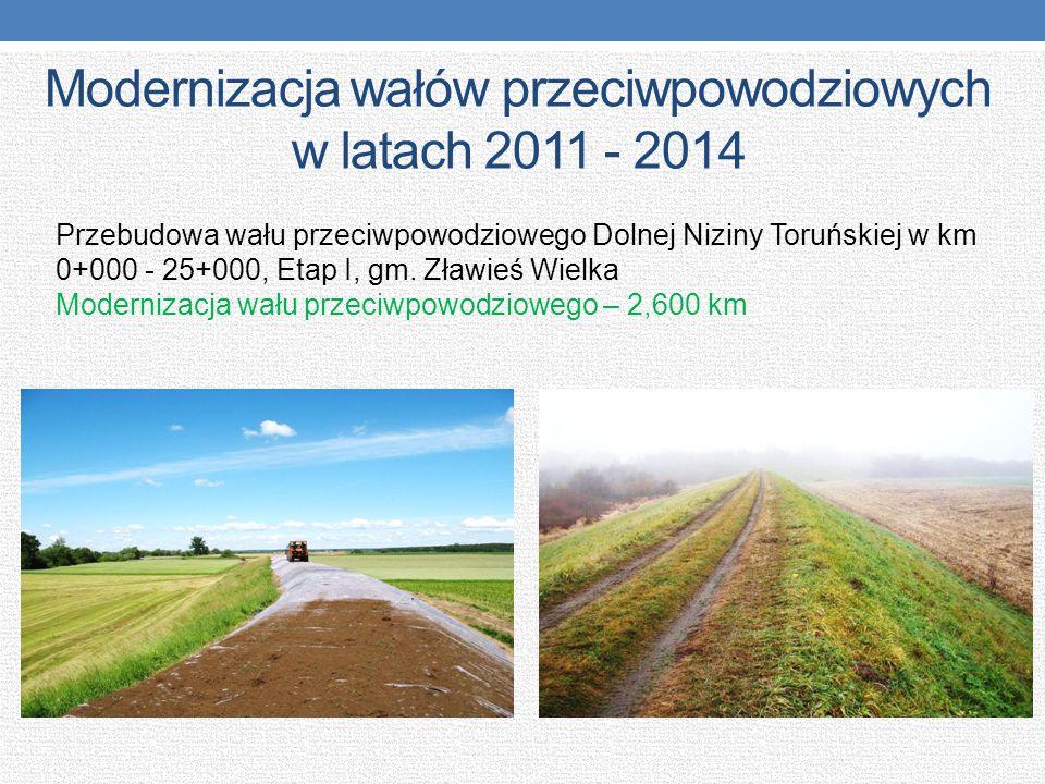 Modernizacja wałów przeciwpowodziowych w latach 2011 - 2014 Przebudowa wału przeciwpowodziowego Dolnej Niziny Toruńskiej w km 0+000 - 25+000, Etap I,