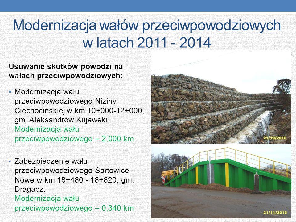 Modernizacja wałów przeciwpowodziowych w latach 2011 - 2014 Usuwanie skutków powodzi na wałach przeciwpowodziowych:  Modernizacja wału przeciwpowodzi
