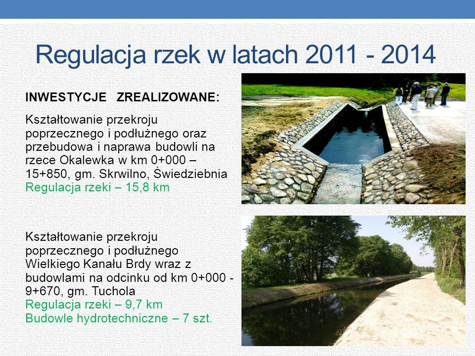 Regulacja rzek w latach 2011 - 2014 INWESTYCJE ZREALIZOWANE: Kształtowanie przekroju poprzecznego i podłużnego oraz przebudowa i naprawa budowli na rz