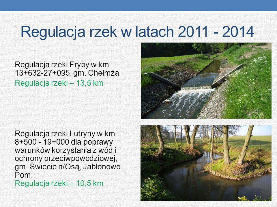 Regulacja rzek w latach 2011 - 2014 Regulacja rzeki Fryby w km 13+632-27+095, gm. Chełmża Regulacja rzeki – 13,5 km Regulacja rzeki Lutryny w km 8+500