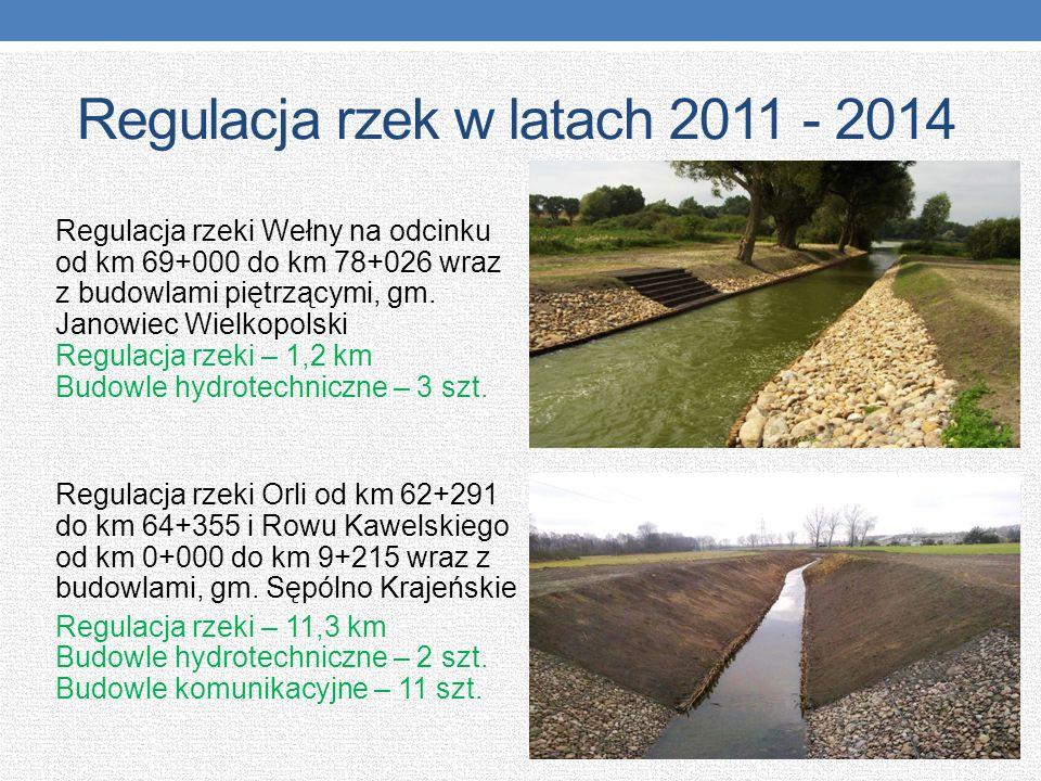 Regulacja rzek w latach 2011 - 2014 Regulacja rzeki Wełny na odcinku od km 69+000 do km 78+026 wraz z budowlami piętrzącymi, gm. Janowiec Wielkopolski