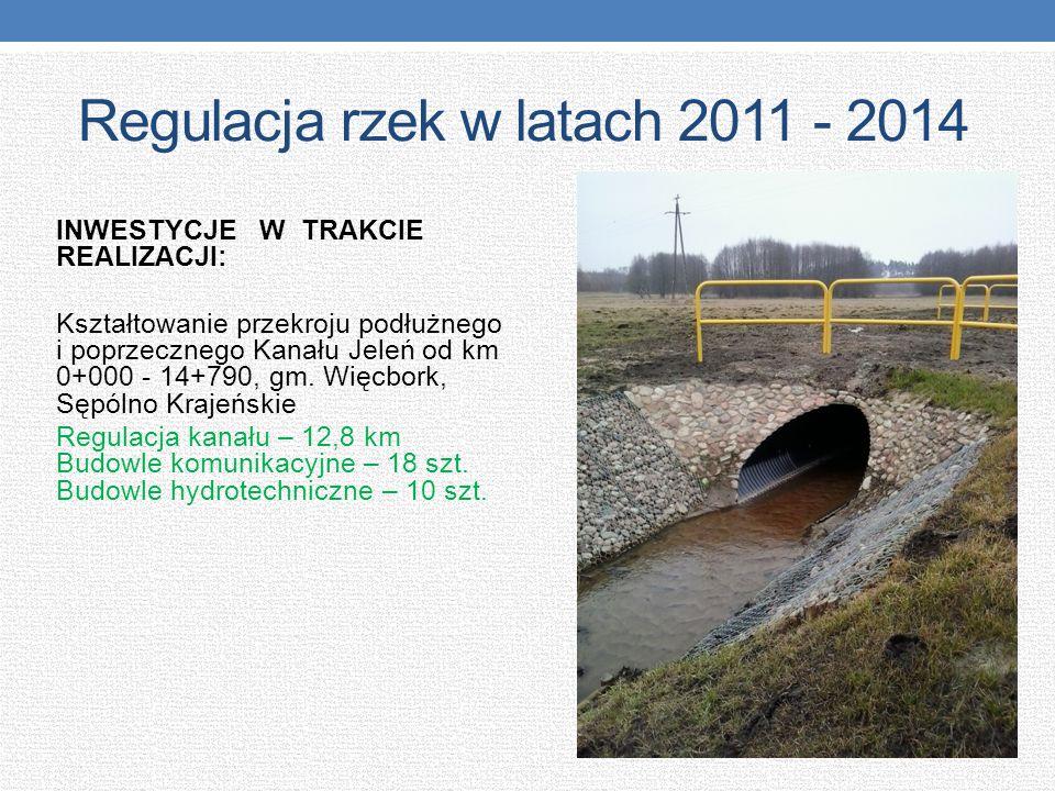 Regulacja rzek w latach 2011 - 2014 INWESTYCJE W TRAKCIE REALIZACJI: Kształtowanie przekroju podłużnego i poprzecznego Kanału Jeleń od km 0+000 - 14+7