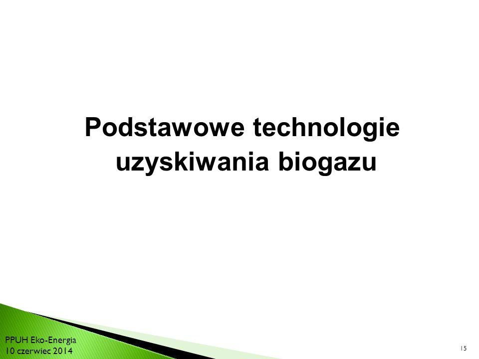 15 Podstawowe technologie uzyskiwania biogazu PPUH Eko-Energia 10 czerwiec 2014