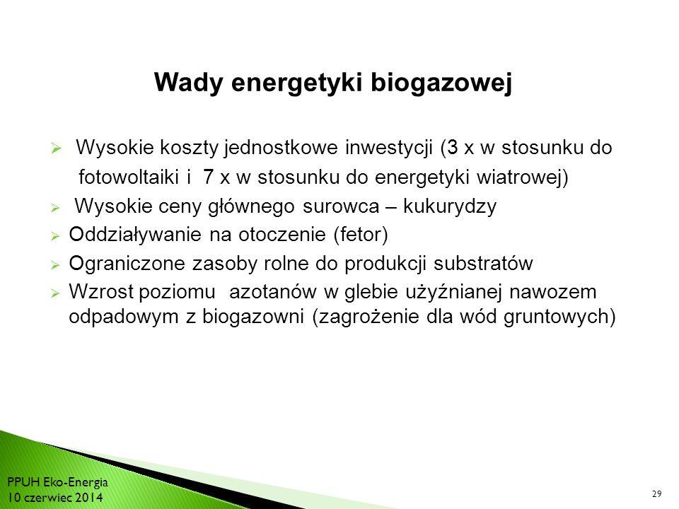 Wysokie koszty jednostkowe inwestycji (3 x w stosunku do fotowoltaiki i 7 x w stosunku do energetyki wiatrowej)  Wysokie ceny głównego surowca – kukurydzy  Oddziaływanie na otoczenie (fetor)  Ograniczone zasoby rolne do produkcji substratów  Wzrost poziomu azotanów w glebie użyźnianej nawozem odpadowym z biogazowni (zagrożenie dla wód gruntowych) 29 Wady energetyki biogazowej PPUH Eko-Energia 10 czerwiec 2014