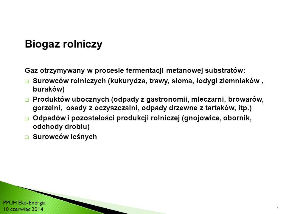 4 Biogaz rolniczy Gaz otrzymywany w procesie fermentacji metanowej substratów:  Surowców rolniczych (kukurydza, trawy, słoma, łodygi ziemniaków, buraków)  Produktów ubocznych (odpady z gastronomii, mleczarni, browarów, gorzelni, osady z oczyszczalni, odpady drzewne z tartaków, itp.)  Odpadów i pozostałości produkcji rolniczej (gnojowice, obornik, odchody drobiu)  Surowców leśnych PPUH Eko-Energia 10 czerwiec 2014
