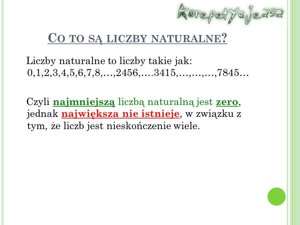 C O TO SĄ LICZBY NATURALNE ? Liczby naturalne to liczby takie jak: 0,1,2,3,4,5,6,7,8,…,2456,….3415,…,…,…,7845… Czyli najmniejszą liczbą naturalną jest