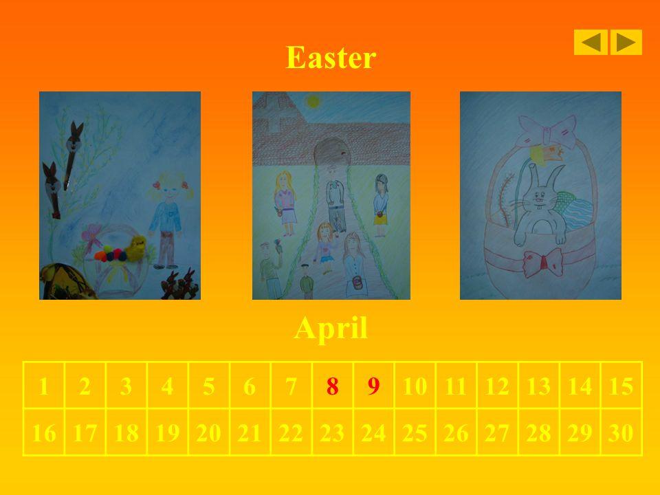 Easter April 123456789101112131415 161718192021222324252627282930