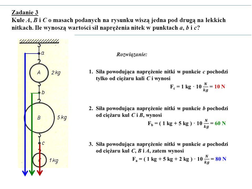 Zadanie 3 Kule A, B i C o masach podanych na rysunku wiszą jedna pod drugą na lekkich nitkach. Ile wynoszą wartości sił naprężenia nitek w punktach a,