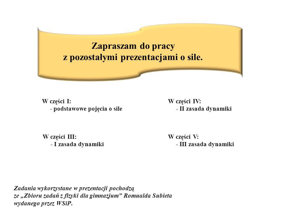 Zapraszam do pracy z pozostałymi prezentacjami o sile. W części I: - podstawowe pojęcia o sile W części III: - I zasada dynamiki W części IV: - II zas