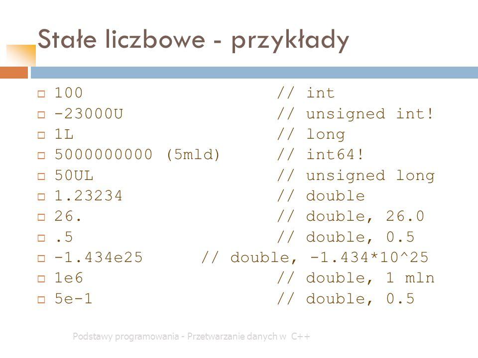 Stałe liczbowe - przykłady Podstawy programowania - Przetwarzanie danych w C++  100// int  -23000U// unsigned int!  1L// long  5000000000 (5mld)//