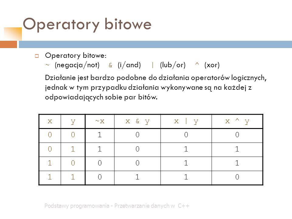 Operatory bitowe Podstawy programowania - Przetwarzanie danych w C++  Operatory bitowe: ~ (negacja/not) & (i/and) | (lub/or) ^ (xor) Działanie jest b