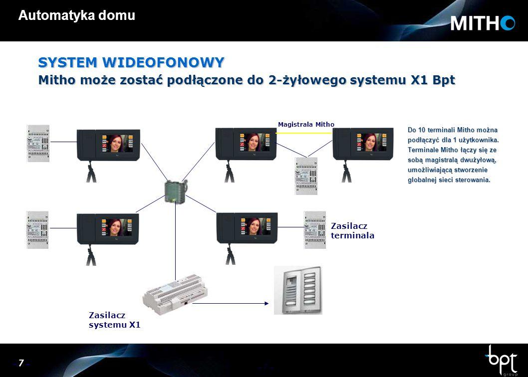 – 7 – Automatyka domu SYSTEM WIDEOFONOWY Mitho może zostać podłączone do 2-żyłowego systemu X1 Bpt Do 10 terminali Mitho można podłączyć dla 1 użytkownika.