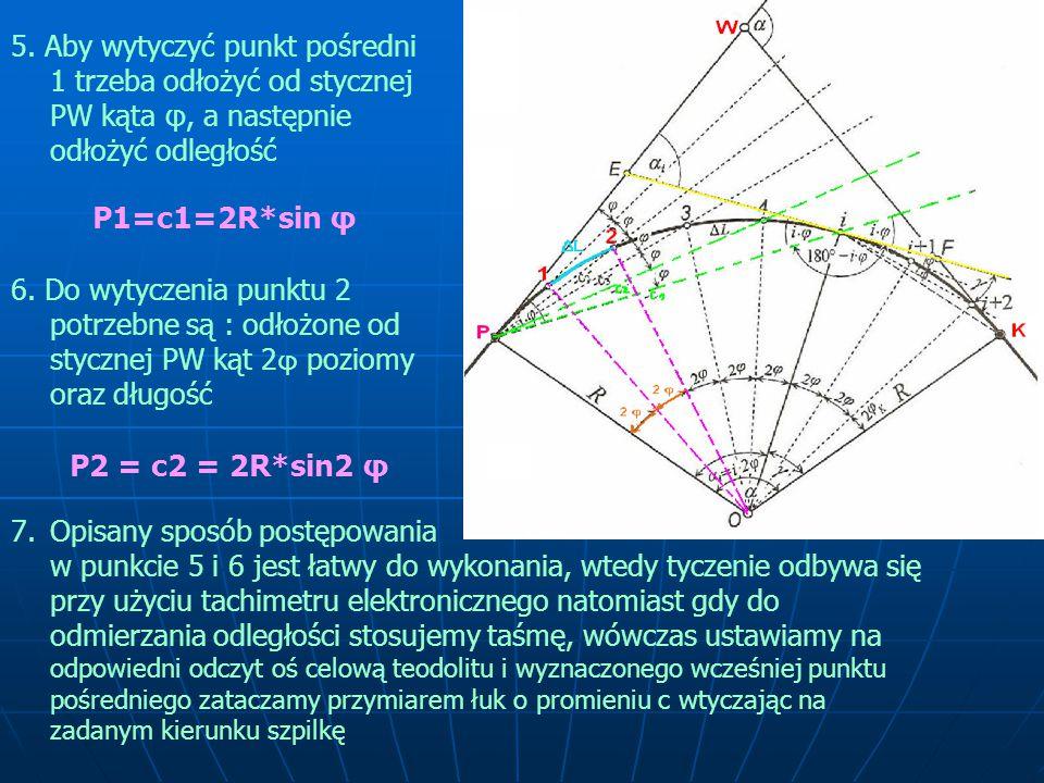 5. Aby wytyczyć punkt pośredni 1 trzeba odłożyć od stycznej PW kąta φ, a następnie odłożyć odległość P1=c1=2R*sin φ 6. Do wytyczenia punktu 2 potrzebn