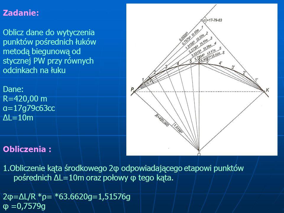 Zadanie: Oblicz dane do wytyczenia punktów pośrednich łuków metodą biegunową od stycznej PW przy równych odcinkach na łuku Dane: R=420,00 m α=17g79c63