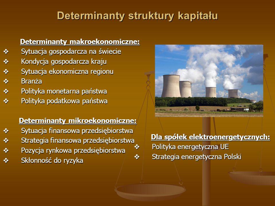 Determinanty struktury kapitału Determinanty makroekonomiczne: Determinanty makroekonomiczne:  Sytuacja gospodarcza na świecie  Kondycja gospodarcza kraju  Sytuacja ekonomiczna regionu  Branża  Polityka monetarna państwa  Polityka podatkowa państwa Determinanty mikroekonomiczne: Determinanty mikroekonomiczne:  Sytuacja finansowa przedsiębiorstwa  Strategia finansowa przedsiębiorstwa  Pozycja rynkowa przedsiębiorstwa  Skłonność do ryzyka Dla spółek elektroenergetycznych: Dla spółek elektroenergetycznych:  Polityka energetyczna UE  Strategia energetyczna Polski