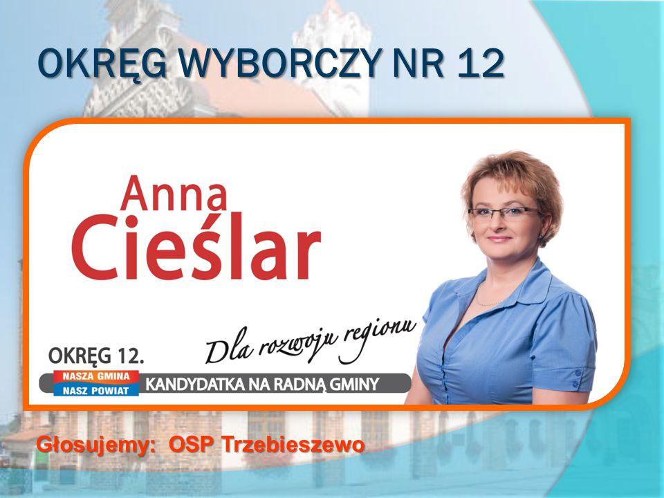 OKRĘG WYBORCZY NR 12 obejmujący sołectwa Chrząstowo, Grębowo, Mokrawica, Rzewnowo, Trzebieszewo Głosujemy: OSP Trzebieszewo