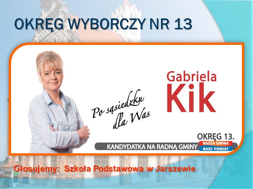 OKRĘG WYBORCZY NR 13 obejmujący sołectwa Dusin, Jarszewo, Kukułowo, Miłachowo, Połchowo, Rozwarowo, Sibin, Skarchowo Głosujemy: Szkoła Podstawowa w Jarszewie