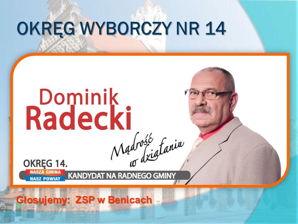 OKRĘG WYBORCZY NR 14 obejmujący sołectwa Benice, Rarwino, Szumiąca, Śniatowo oraz DPS w Śniatowie Głosujemy: ZSP w Benicach