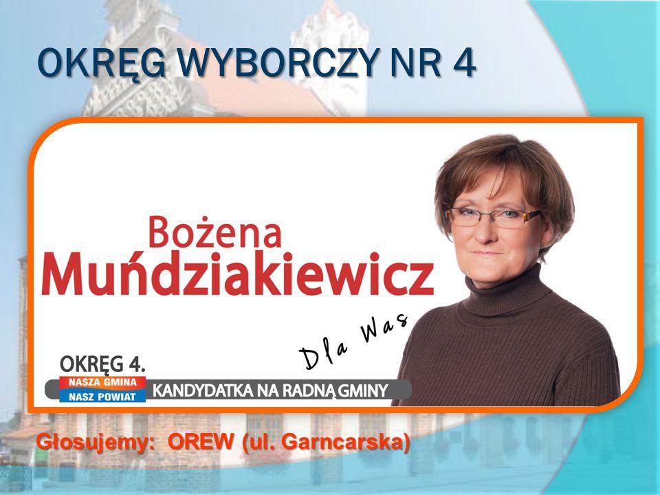 OKRĘG WYBORCZY NR 4 obejmujący ulice: Bałtycka, Basztowa, Garncarska, Władysława Jagiełły, część ul.