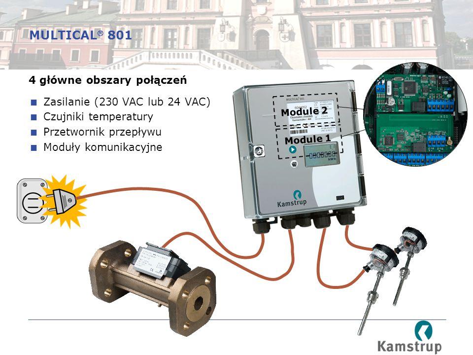 Module 2 Module 1 4 główne obszary połączeń  Zasilanie (230 VAC lub 24 VAC)  Czujniki temperatury  Przetwornik przepływu  Moduły komunikacyjne MULTICAL  801