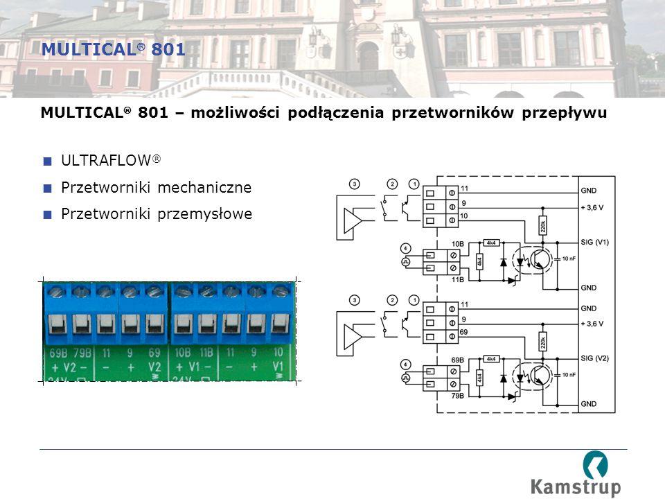 MULTICAL  801 – możliwości podłączenia przetworników przepływu  ULTRAFLOW ®  Przetworniki mechaniczne  Przetworniki przemysłowe MULTICAL  801