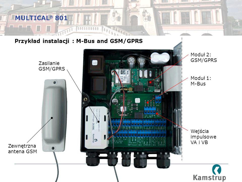 Przykład instalacji : M-Bus and GSM/GPRS Moduł 2: GSM/GPRS Moduł 1: M-Bus Zasilanie GSM/GPRS Wejścia impulsowe VA i VB Zewnętrzna antena GSM MULTICAL  801
