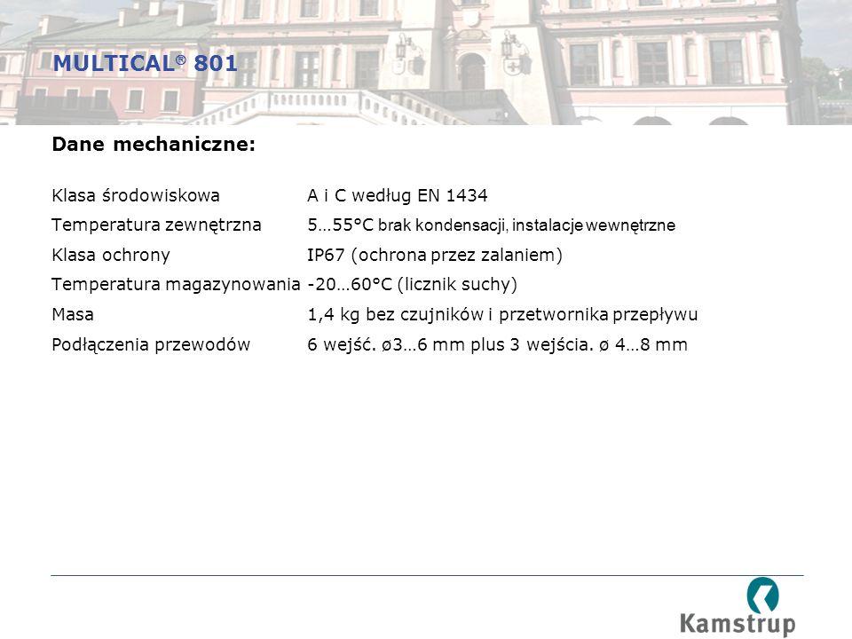 Dane mechaniczne: Klasa środowiskowaA i C według EN 1434 Temperatura zewnętrzna5…55°C brak kondensacji, instalacje wewnętrzne Klasa ochronyIP67 (ochrona przez zalaniem) Temperatura magazynowania-20…60°C (licznik suchy) Masa1,4 kg bez czujników i przetwornika przepływu Podłączenia przewodów6 wejść.