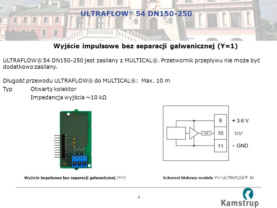 4 Schemat blokowy modułu Y=1 ULTRAFLOW ® 54 impulsowe bez separacji galwanicznej Wyjście impulsowe bez separacji galwanicznej (Y=1) impulsowe bez separacji galwanicznej (Y=1) Wyjście impulsowe bez separacji galwanicznej (Y=1) ULTRAFLOW® 54 DN150-250 jest zasilany z MULTICAL®.