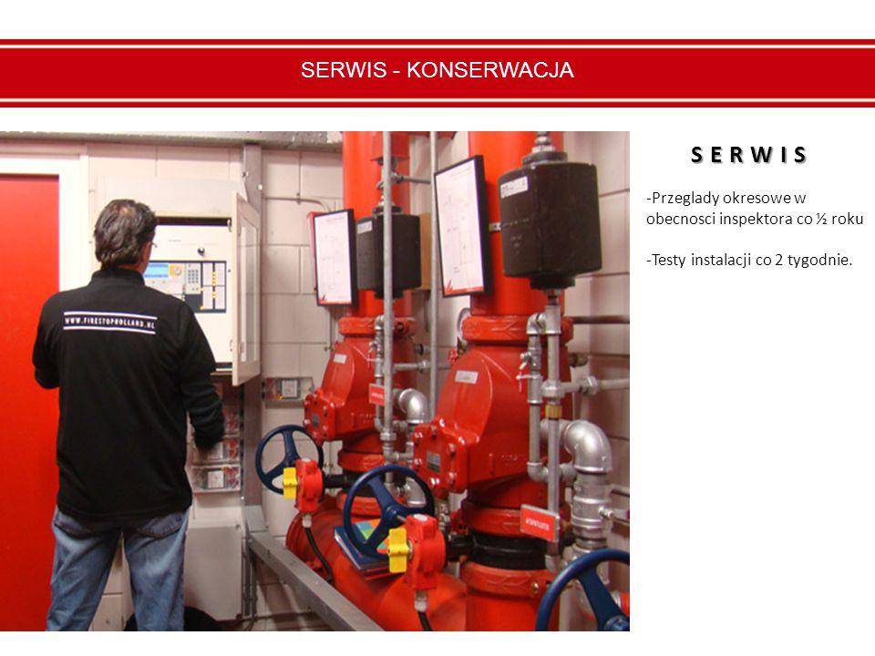 SERWIS - KONSERWACJA -Przeglady okresowe w obecnosci inspektora co ½ roku -Testy instalacji co 2 tygodnie.