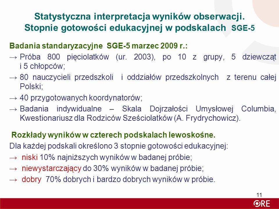 Statystyczna interpretacja wyników obserwacji. Stopnie gotowości edukacyjnej w podskalach SGE-5 Badania standaryzacyjne SGE-5 marzec 2009 r.: →Próba 8