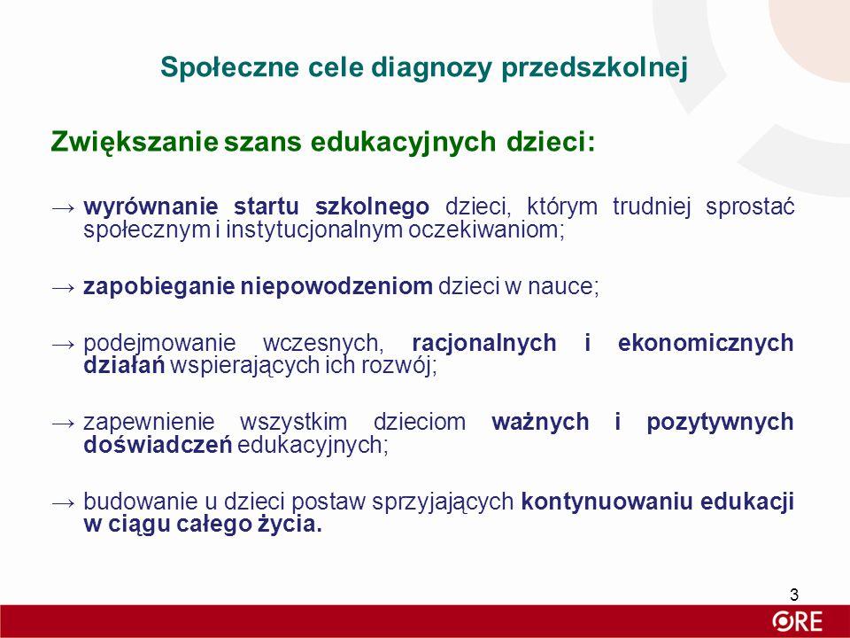 Społeczne cele diagnozy przedszkolnej Zwiększanie szans edukacyjnych dzieci: →wyrównanie startu szkolnego dzieci, którym trudniej sprostać społecznym