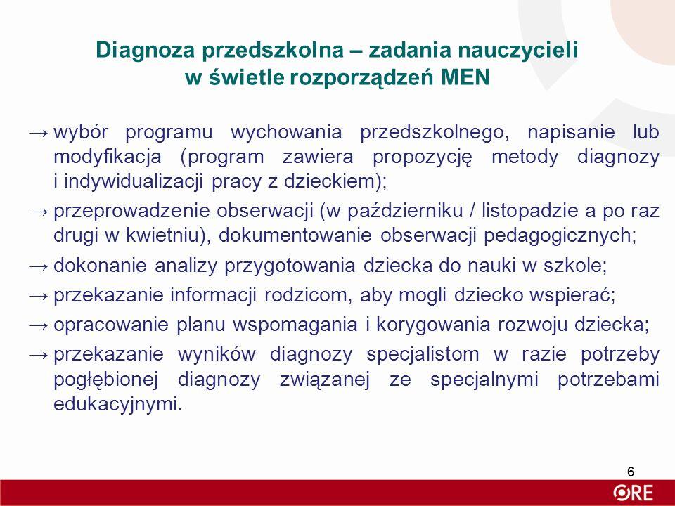Diagnoza przedszkolna – zadania nauczycieli w świetle rozporządzeń MEN →wybór programu wychowania przedszkolnego, napisanie lub modyfikacja (program z