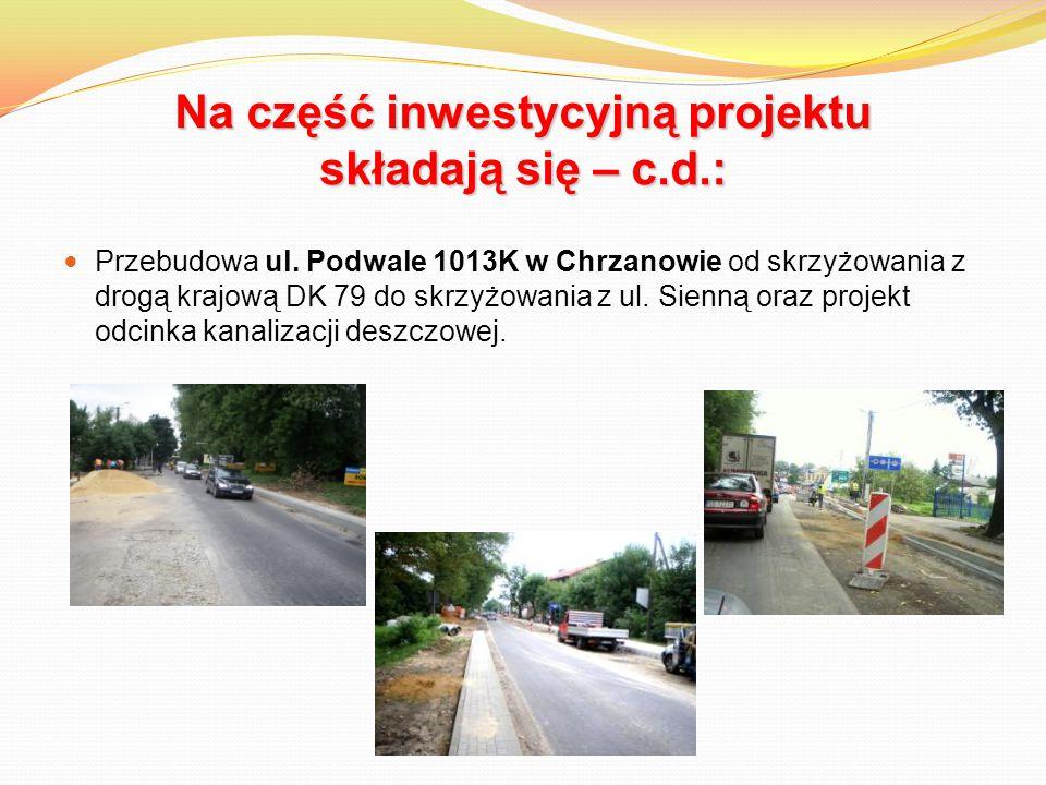 Na część inwestycyjną projektu składają się – c.d.: Przebudowa ul. Podwale 1013K w Chrzanowie od skrzyżowania z drogą krajową DK 79 do skrzyżowania z