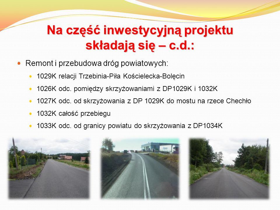 Na część inwestycyjną projektu składają się – c.d.: Remont i przebudowa dróg powiatowych: 1029K relacji Trzebinia-Piła Kościelecka-Bolęcin 1026K odc.