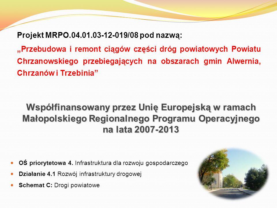 Współfinansowany przez Unię Europejską w ramach Małopolskiego Regionalnego Programu Operacyjnego na lata 2007-2013 OŚ priorytetowa 4. Infrastruktura d