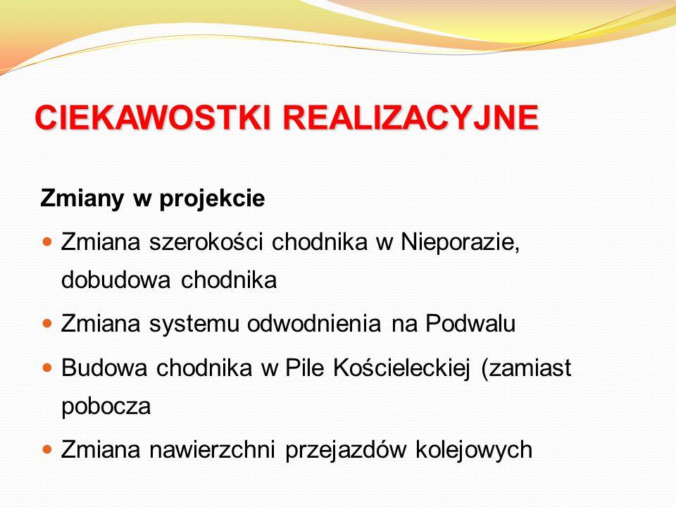 CIEKAWOSTKI REALIZACYJNE Zmiany w projekcie Zmiana szerokości chodnika w Nieporazie, dobudowa chodnika Zmiana systemu odwodnienia na Podwalu Budowa ch