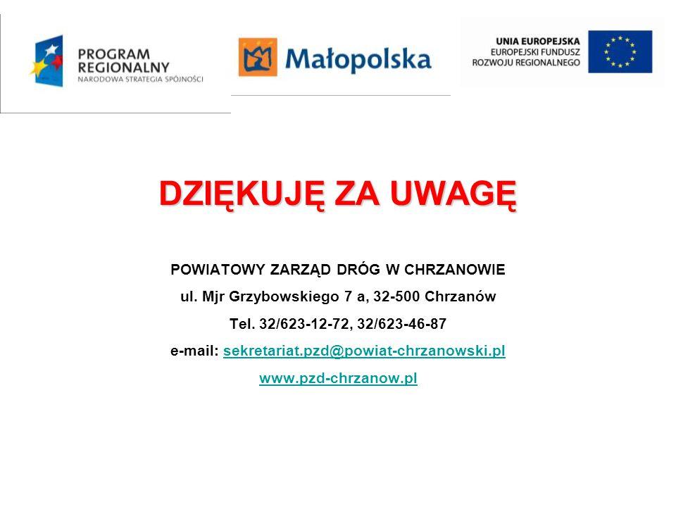 DZIĘKUJĘ ZA UWAGĘ POWIATOWY ZARZĄD DRÓG W CHRZANOWIE ul. Mjr Grzybowskiego 7 a, 32-500 Chrzanów Tel. 32/623-12-72, 32/623-46-87 e-mail: sekretariat.pz