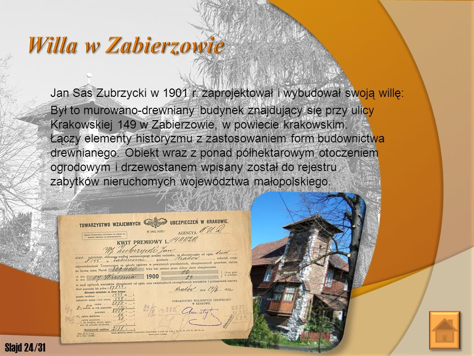 """W latach 1886-1912 Jan Sas Zubrzycki mieszkał w Krakowie. W 1898 roku wraz z siostrą Jadwigą z Łobzowa założył Towarzystwo Rękodzielników Polskich """"Gw"""