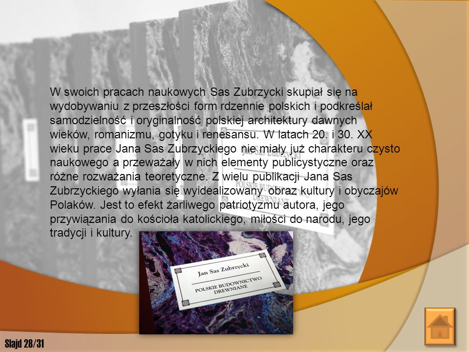 Jan Sas Zubrzycki prowadził ożywioną działalność badawczą, teoretyczną i publicystyczną. Pozostawił bardzo bogatą literaturę naukową z zakresu teorii