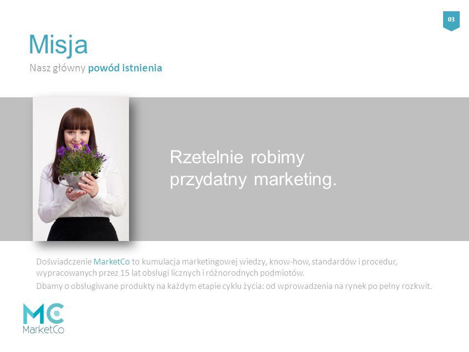 Rzetelnie robimy przydatny marketing. Nasz główny powód istnienia Misja Doświadczenie MarketCo to kumulacja marketingowej wiedzy, know-how, standardów